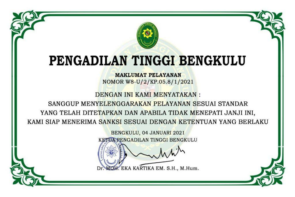 Maklumat Pelayanan PT Bengkulu
