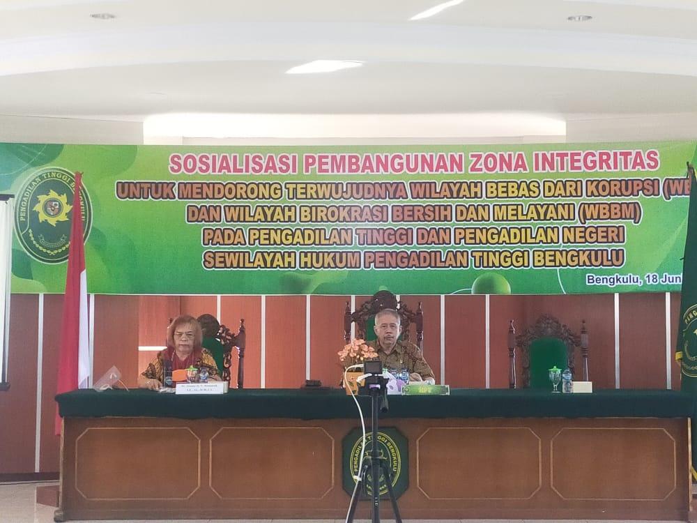 Sosialisasi Pembangunan Zona Integritas Untuk Mendorong Terwujudnya WBK Dan WBBM Pada Pengadilan Negeri Dan Pengadilan Tinggi Bengkulu